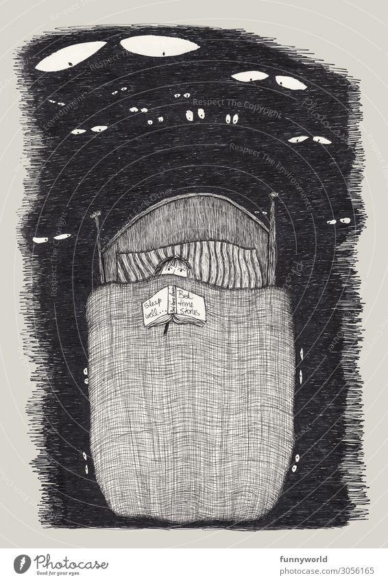 Illustration eines Kindes im Bett, mit Buch auf der Bettdecke und lauter weiße Augen schauen auf es herab 1 Mensch Angst Alptraum gruselig Gute Nacht bedrohlich