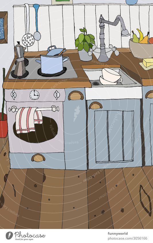 Illustratio neienr kleinen Küche in blau Häusliches Leben Wohnung Innenarchitektur einzigartig retro Grafik u. Illustration gemütlich Topf Herd & Backofen