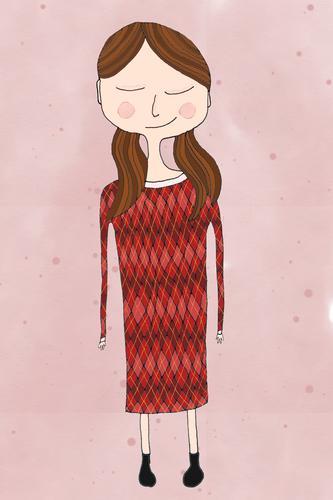 Mädchen mit rotem Kleid Junge Frau Jugendliche 1 Mensch Haare & Frisuren brünett Scheitel Zopf Glück niedlich Zufriedenheit Muster Grafik u. Illustration