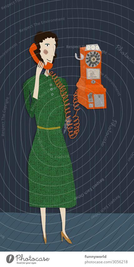 Illustration einer Frau mit grünem Kleid in retro Stil, die mit eine orangenen analogen Telefon telefoniert Erwachsene 1 Mensch Rock Damenschuhe schwarzhaarig