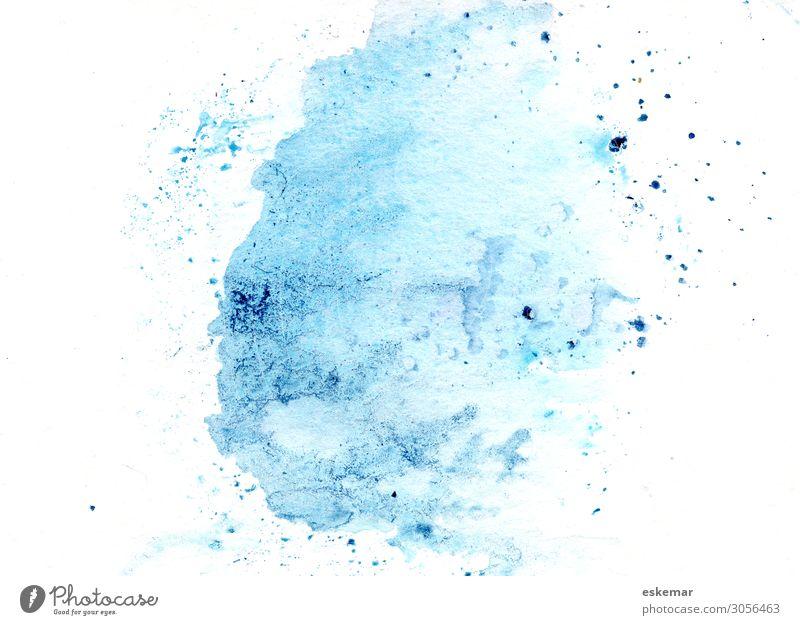 Aquarell auf Papier Kunst Kunstwerk Gemälde Wasserfarbe Farbe Farbfleck Fleck Spritzer Farbspritzer ästhetisch frisch blau weiß Redewendung Hintergrundbild