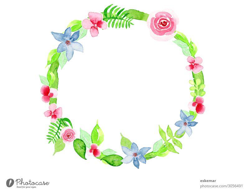 Blumenkranz Sommer Dekoration & Verzierung Kranz Kunst Kunstwerk Gemälde Aquarell Wasserfarbe Natur Pflanze Frühling Baum Gras Rose Blatt Blüte Grünpflanze