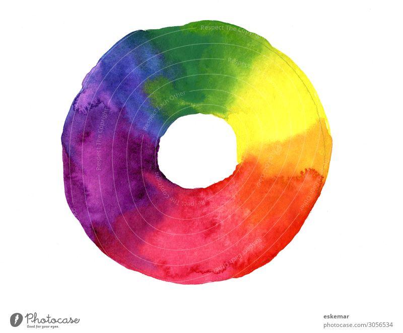 Farbkreis Kunst Gemälde Malerei Aquarell Wasserfarbe Farbe Farbenlehre ästhetisch Kreativität gemalt Primärfarben Farbfoto mehrfarbig Menschenleer