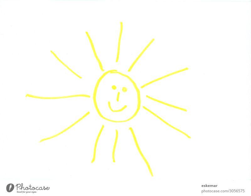 lachende Sonne Freude Gesicht Sommer Sommerurlaub Sonnenbad Kind Kunst Kunstwerk Zeichnung Kinderzeichnung Sonnenlicht Schönes Wetter Fröhlichkeit lustig gelb