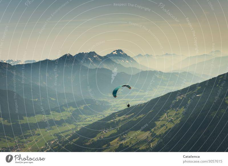 Thermiksuchen Gleitschirmfliegen Umwelt Landschaft Luft Himmel Wolkenloser Himmel Sommer Schönes Wetter Nebel Baum Gras Wiese Feld Wald Alpen