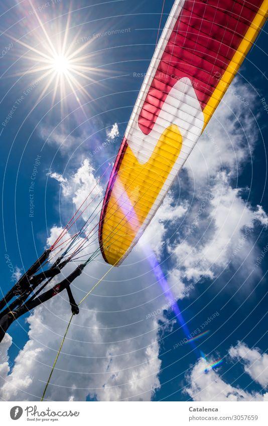 Höhenflug Freude Glück Freizeit & Hobby Gleitschirmfliegen Luft nur Himmel Wolken Sonne Sonnenlicht Sommer Schönes Wetter Seil Bewegung stark blau gelb violett
