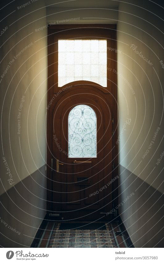 Haustür alt Wand Mauer Tür elegant ästhetisch historisch Fliesen u. Kacheln eng massiv Holztür