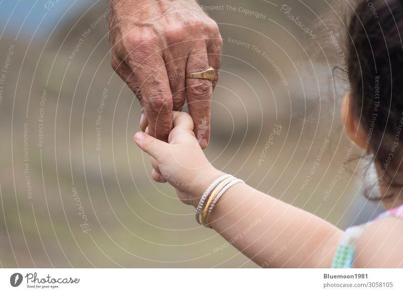 Nahaufnahme der Hand eines Kindes, das den Finger seines Vaters hält. Lifestyle Haut Ferien & Urlaub & Reisen Kindererziehung Ruhestand maskulin Mädchen Mann