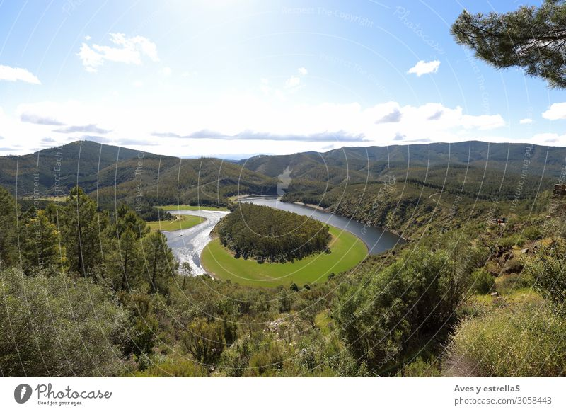 Meandro del Melero in Las Hurdes, Extremadura Spanien Ferien & Urlaub & Reisen Tourismus Abenteuer Freiheit Sommer Sommerurlaub Natur Landschaft Pflanze Erde