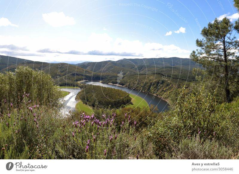 Meandro del Melero in Las Hurdes, Extremadura Spanien Ferien & Urlaub & Reisen Tourismus Abenteuer Sommer Berge u. Gebirge Natur Landschaft Pflanze Wasser