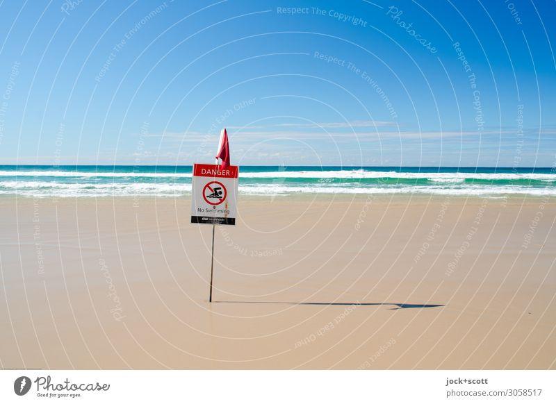 origin of danger Ferne Strand Horizont Schönes Wetter Wärme Küste Meer Pazifik Pazifikstrand Queensland Hinweisschild Warnschild Verbotsschild sportlich einfach