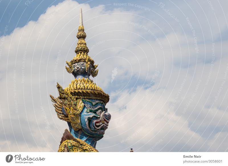 Oni in the clouds Ferien & Urlaub & Reisen Tourismus Ferne Städtereise Bangkok Thailand Architektur Aggression bedrohlich Tempel Statue Wächter Farbfoto