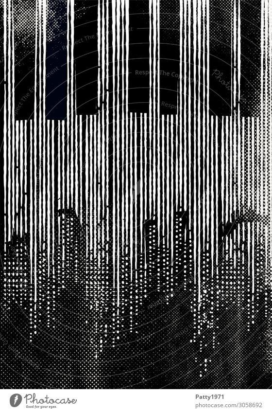 Jazz Nachtleben Entertainment Musik Konzert Klavier Klaviatur Blues Stadt Skyline Menschenleer Hochhaus retro schwarz weiß Kreativität Kultur Kunst