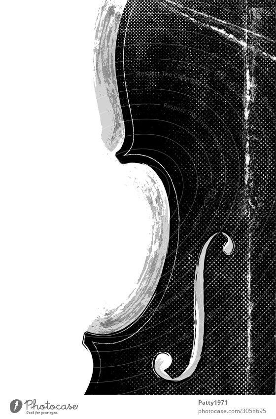 Musik Kontrabass Streichinstrumente Cello Geige retro schwarz weiß Kultur Kunst Grafik u. Illustration altehrwürdig Hintergrundbild Schwarzweißfoto abstrakt