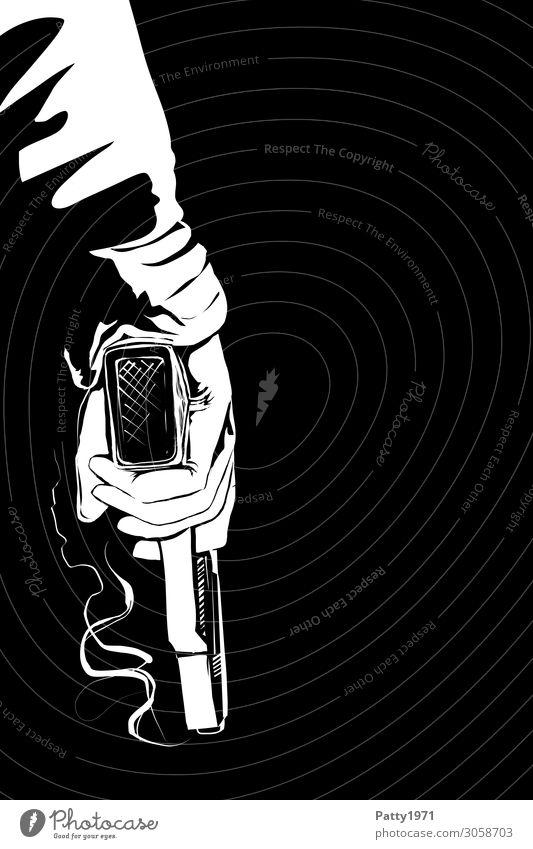 Smoking Gun Mensch Arme Hand 1 18-30 Jahre Jugendliche Erwachsene 30-45 Jahre 45-60 Jahre Filmgenre Film Noir Waffe Pistole Rauch Comic festhalten Aggression