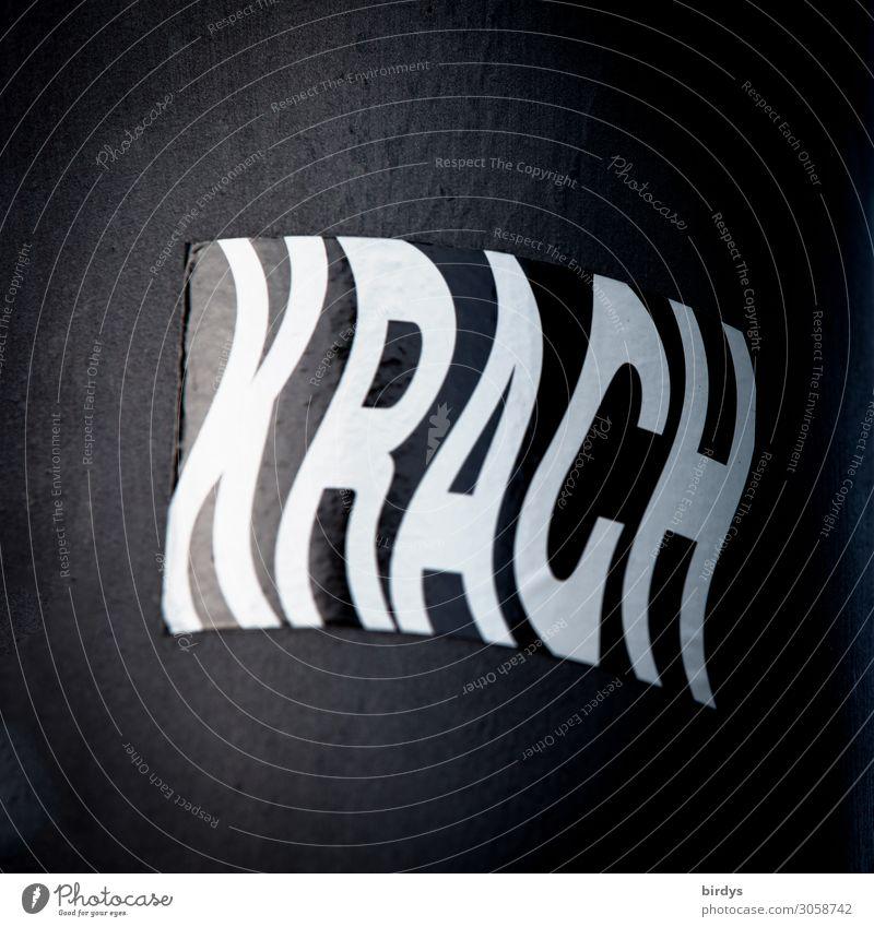 Krach, extremer Lärmpegel oder synonym für eskalierenden Streit Gesundheit Gesundheitswesen Schriftzeichen Aggression außergewöhnlich grau schwarz weiß Gefühle