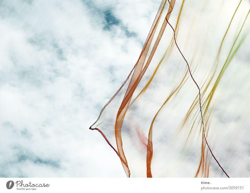 Windspiel Himmel Wolken Stoff Naht durchsichtig Kunststoff Linie Fahne Bewegung frisch mehrfarbig Freude Lebensfreude Ausdauer Fernweh ästhetisch