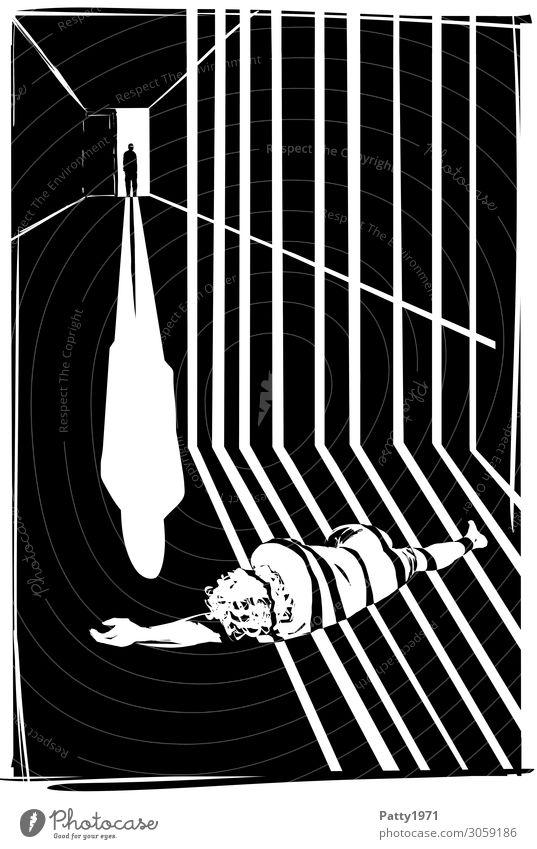 Lange Schatten Mensch maskulin 2 18-30 Jahre Jugendliche Erwachsene 30-45 Jahre 45-60 Jahre Gefängniszelle liegen stehen bedrohlich dunkel schwarz weiß Gefühle