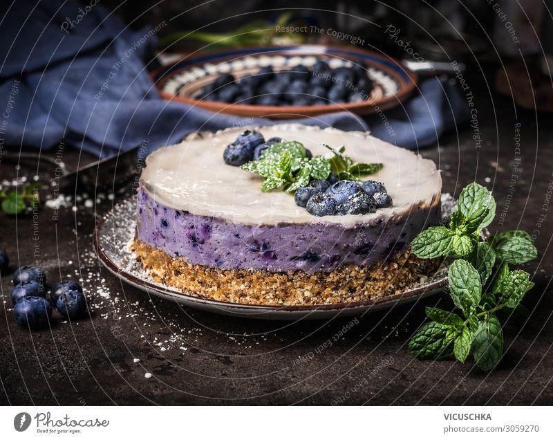 Heidelbeeren Käsekuchen ohne backen Lebensmittel Frucht Kuchen Dessert Ernährung Bioprodukte Vegetarische Ernährung Diät Stil Gesunde Ernährung Häusliches Leben