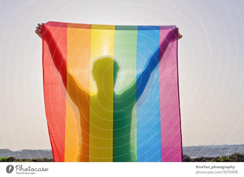 Junge Frau mit LGBT-Flagge Lifestyle Freude Freiheit Feste & Feiern Homosexualität Erwachsene Körper Hand 1 Mensch Sommer Fahne Liebe Sex hell Partnerschaft