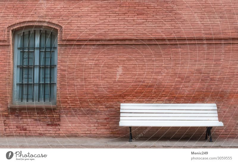 Weiße Holzbank mit Vintage-Hintergrundwand Erholung Freizeit & Hobby Haus Garten Dekoration & Verzierung Möbel Stuhl Tapete Architektur Natur Landschaft Baum
