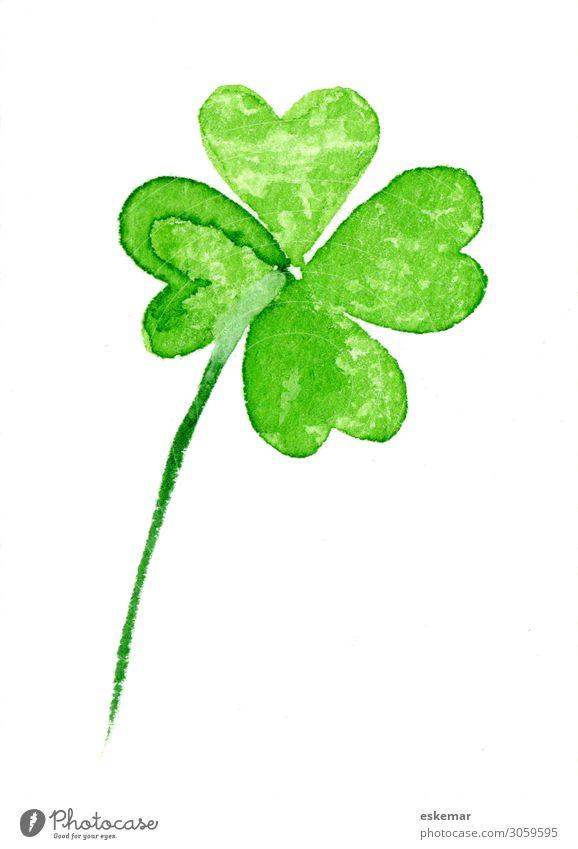 Vierblättriges Kleeblatt Glück Dekoration & Verzierung Feste & Feiern Kunst Kunstwerk Gemälde Aquarell gemalt auf Papier Wasserfarbe Pflanze Blatt Grünpflanze