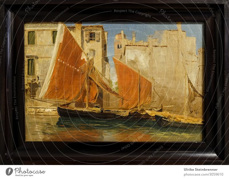 Gustav Bauernfeind: Fischerboote im Hafen von Chioggia, Ölstudie Kunst Künstler Maler Ausstellung Museum Kunstwerk Gemälde Italien Europa Fischerdorf Kleinstadt
