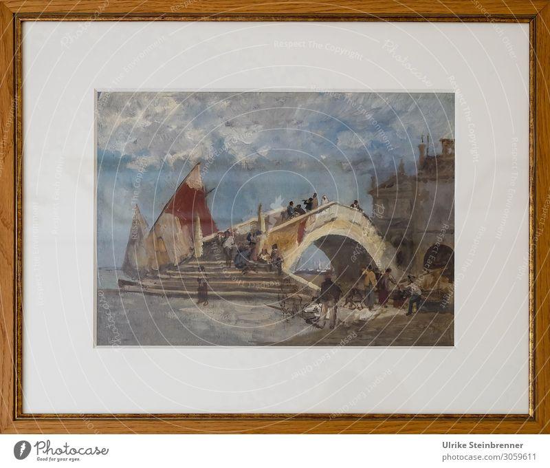 Gustav Bauernfeind: Ponte di Vigo in Chioggia, Ölstudie III Mensch Kunst Künstler Maler Ausstellung Museum Kunstwerk Gemälde Dorf Fischerdorf Kleinstadt