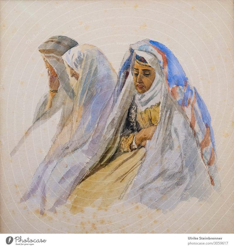 Gustav Bauernfeind: Drei Beduinenfrauen, Aquarell Frau Mensch Erwachsene Leben feminin Kunst sitzen Bekleidung geheimnisvoll Stoff Gemälde Museum Kunstwerk