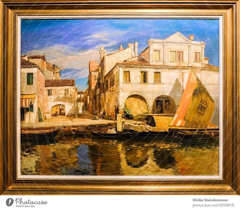 Gustav Bauernfeind: Kanalszene in Chioggia, Öl, um 1877 Kunst Künstler Maler Ausstellung Museum Kunstwerk Gemälde Flussufer Italien Dorf Fischerdorf Kleinstadt