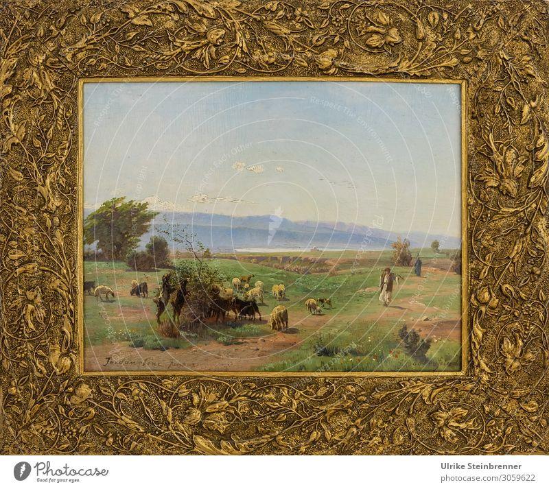 Gustav Bauernfeind: Jordanebene im Januar, Öl auf Pappe Mensch Kunst Künstler Maler Ausstellung Museum Kunstwerk Gemälde Natur Landschaft Tier Nutztier