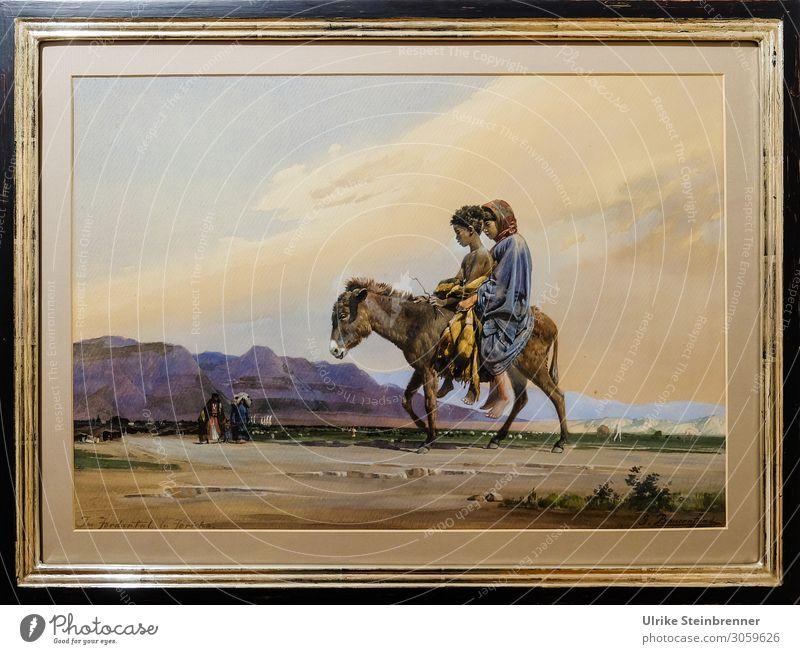 Gustav Bauernfeind: Im Jordantal bei Jericho, Aquarell Kind Mensch Landschaft Tier Mädchen natürlich feminin Junge Kunst maskulin Kindheit