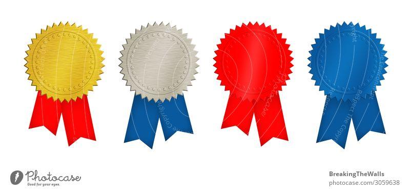 Gold-, Silber-, Rot- und Blaumünzen oder Medaillen Design Urkunde Sammlung Metall Stahl modern retro blau rot weiß Plakette Ikon Doppelgänger