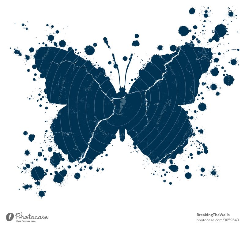 Grunge Schmetterlingsform und Farbflecken bespritzt Kunst Kunstwerk Gemälde Tropfen dreckig blau weiß platschen Hintergrund verzweifelt texturiert gefärbt Riss