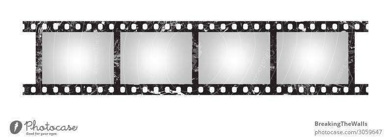 Sechs leere Retro-Bilder von 35 mm Filmstreifen Kunst Medien Kino Filmindustrie Video alt dreckig retro schwarz weiß Fotografie Borte analog Klassik Rolle