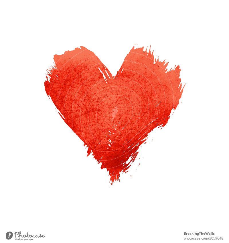Rotes Aquarell lackierte Herzform auf Weiß Valentinstag Muttertag Kunst Kunstwerk Gemälde Liebe rot weiß Farbe Hintergrund Wasserfarbe Pinselstrich Grunge