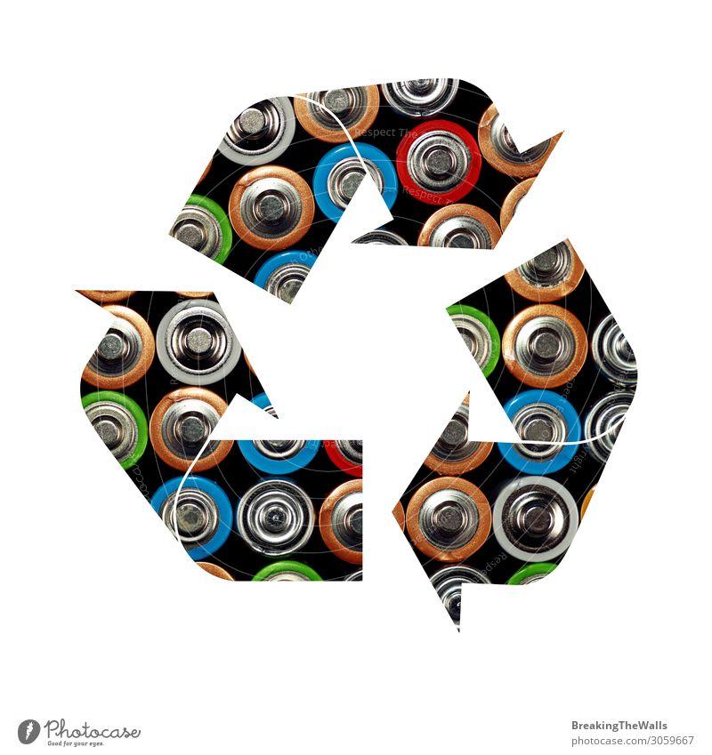 Recycling-Symbol für Alkali-Batterien Industrie Energiewirtschaft Umwelt Zeichen Schilder & Markierungen Hinweisschild Warnschild Sauberkeit grün weiß Schutz