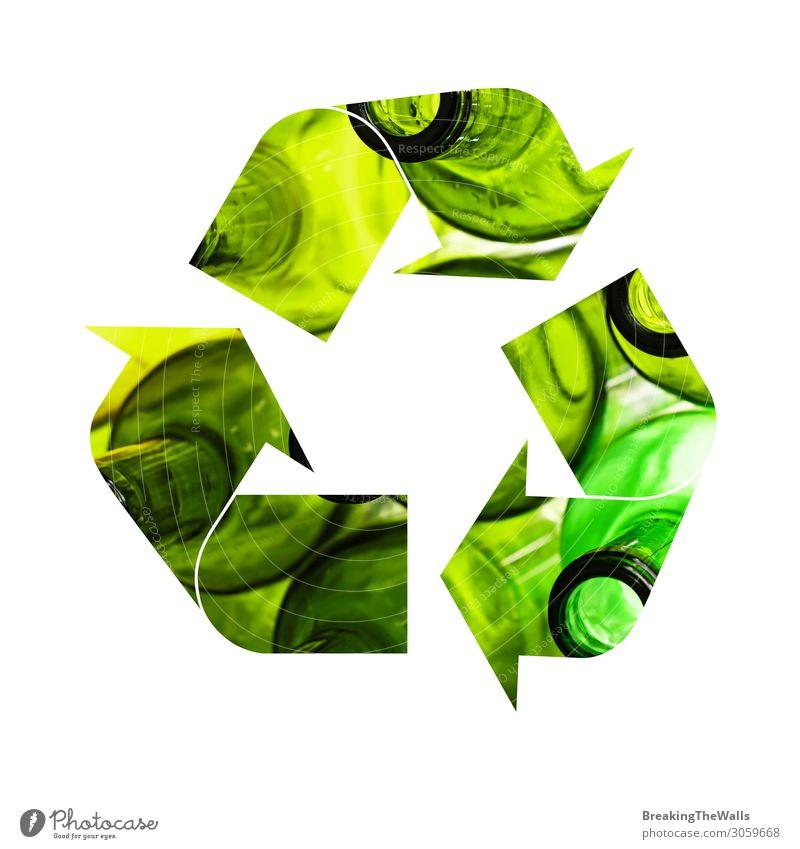 Illustration des Recycling-Symbols für Glasflaschen Flasche Industrie Umwelt grün weiß Schutz Verantwortung Ikon Logo Symbole & Metaphern Müll Hintergrund