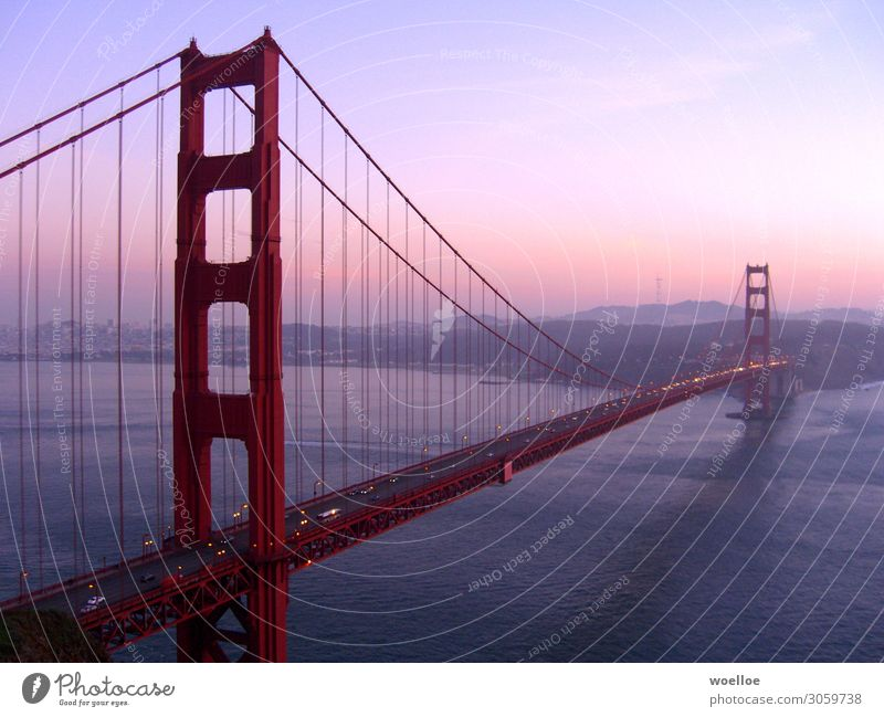 The Majesty of Bridges II Landschaft Wasser Himmel Sonnenaufgang Sonnenuntergang Sonnenlicht Schönes Wetter Hügel Küste Bucht Meer Pazifik San Francisco Bay USA