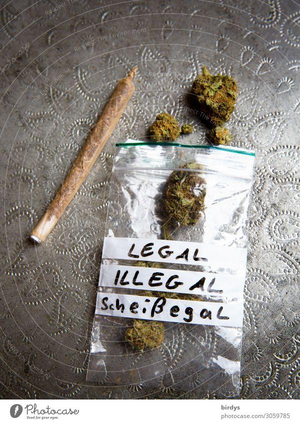 was denn nun ? Lifestyle Alternativmedizin Rauchen Rauschmittel Erholung Hanf Joint Cannabis Silbertablett Plastiktüte Schriftzeichen ästhetisch authentisch