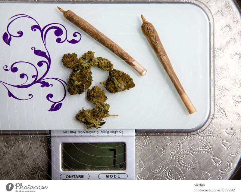 THC-haltig Alternativmedizin Rauschmittel Erholung Waage Blüte Grünpflanze Nutzpflanze Cannabis Joint Tablett authentisch braun grün silber weiß Laster Euphorie