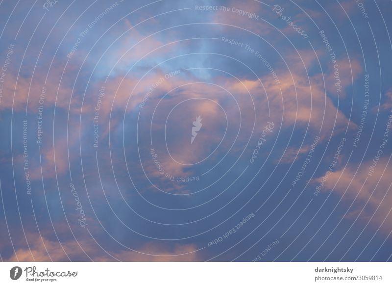 Eleganter abendlicher Himmel mit orange und blau Landwirtschaft Forstwirtschaft Energiewirtschaft Meteorologie Natur Urelemente Luft Wasser nur Himmel Wolken