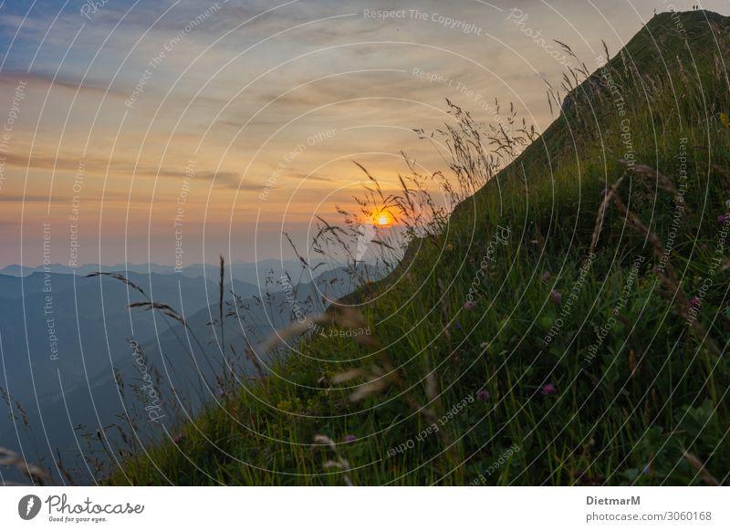 Sonnenaufgang auf der Kanisfluh Himmel Ferien & Urlaub & Reisen Natur Sommer Pflanze Landschaft Wolken Berge u. Gebirge Umwelt natürlich Sport Tourismus
