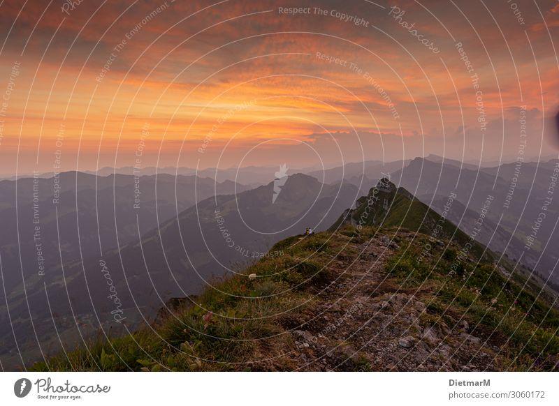Sonnenaufgang auf der Kanisfluh Himmel Ferien & Urlaub & Reisen Natur Sommer Landschaft Wolken Freude Berge u. Gebirge Umwelt natürlich Bewegung Glück Tourismus