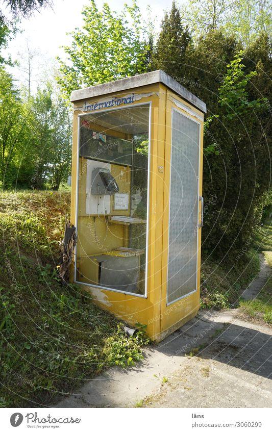 Telefonzelle - International Telekommunikation alt außergewöhnlich eckig historisch retro gelb Endzeitstimmung Erwartung Kommunizieren Problemlösung