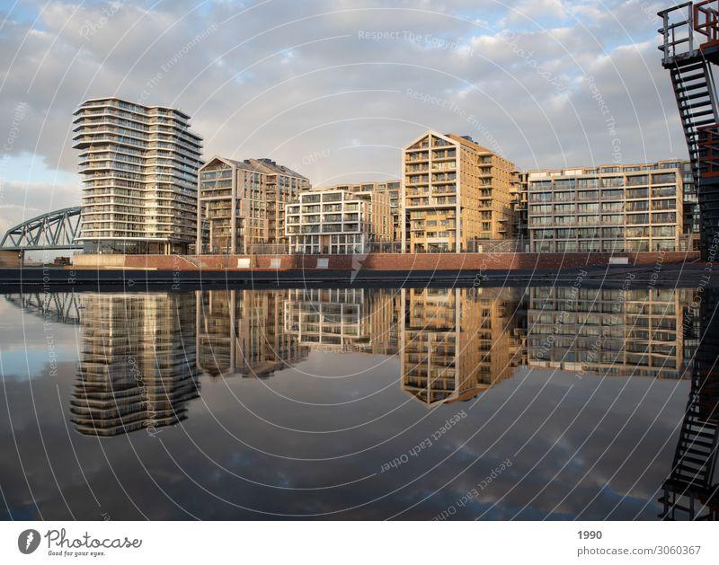 Moderne niederländische Architektur bei bewölktem Himmel Nimwegen Niederlande Europa Stadt Haus schön neu klug Häusliches Leben Wolken Farbfoto mehrfarbig