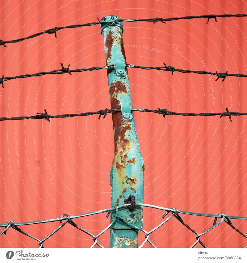 metal security Container Maschendraht Maschendrahtzaun Stacheldraht Rost Metall Linie alt gruselig trashig grün rot Sicherheit Schutz Wachsamkeit Angst