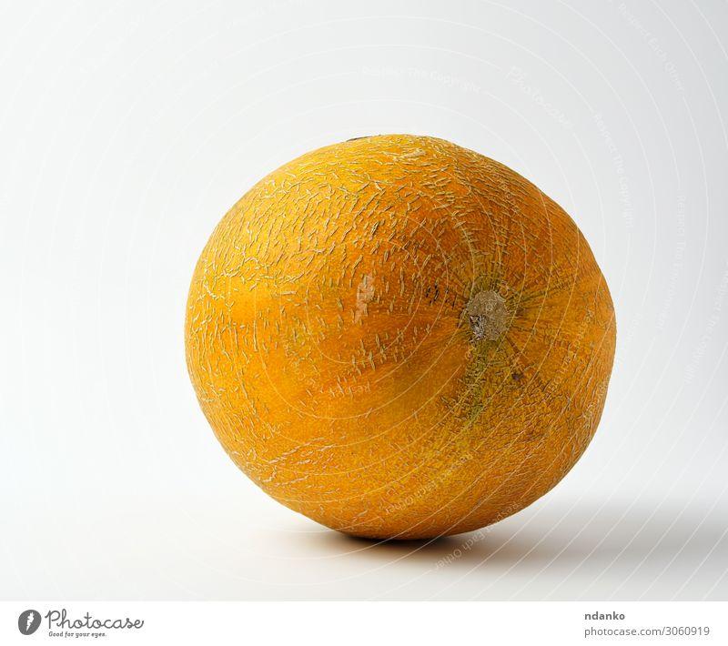 vollreife, runde gelbe Melone Gemüse Frucht Dessert Ernährung Vegetarische Ernährung Diät Sommer Natur frisch lecker natürlich saftig gold grün weiß Hintergrund