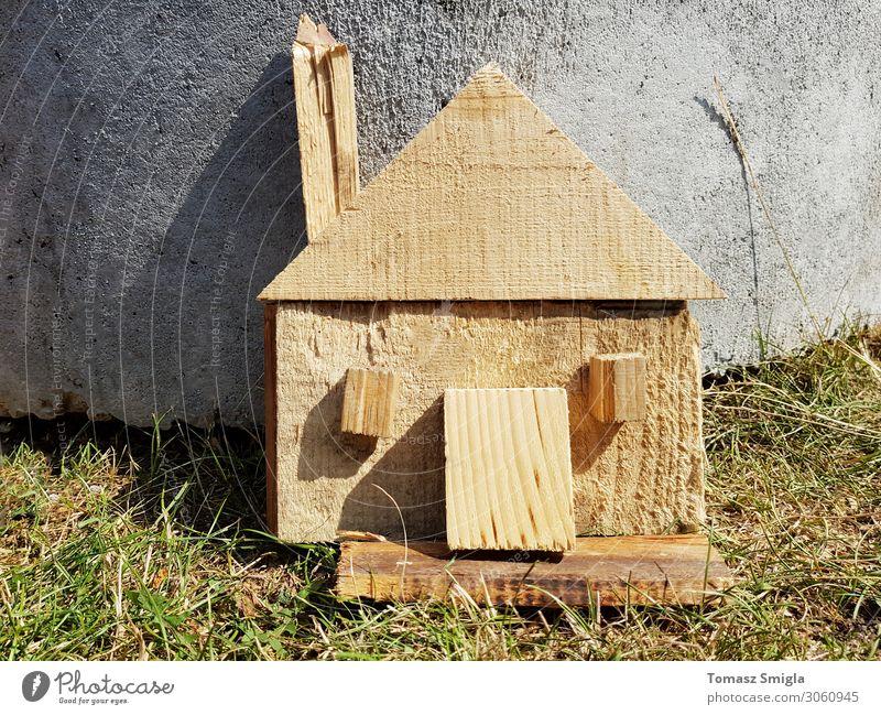 Natur grün Haus Architektur Holz natürlich Gras Gebäude klein Textfreiraum Design frisch Sauberkeit Symbole & Metaphern Spielzeug Model