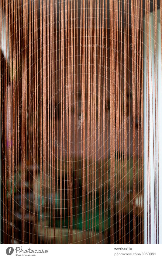Vorhang Schleier Schnur Schutz Insektenschutz Mückenschutz Stechmücke Häusliches Leben Wohnzimmer Balkon Terrasse Eingang Zugang Zutritt Tür offen Menschenleer